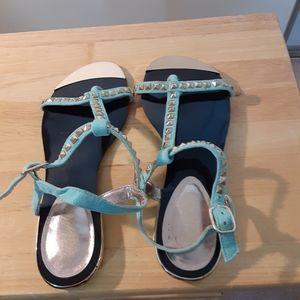 Paprika Shoes - 3X25.  Paprika Blue Silver Studded Sandals